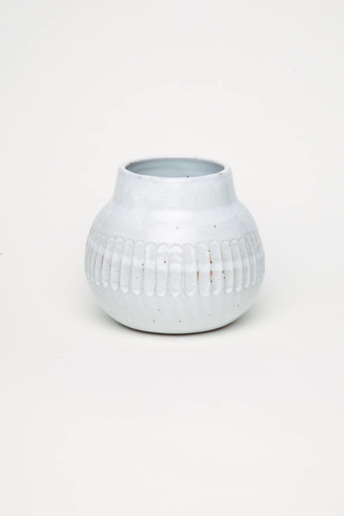 Alice Cheng Studio White Vase w/Carved Band