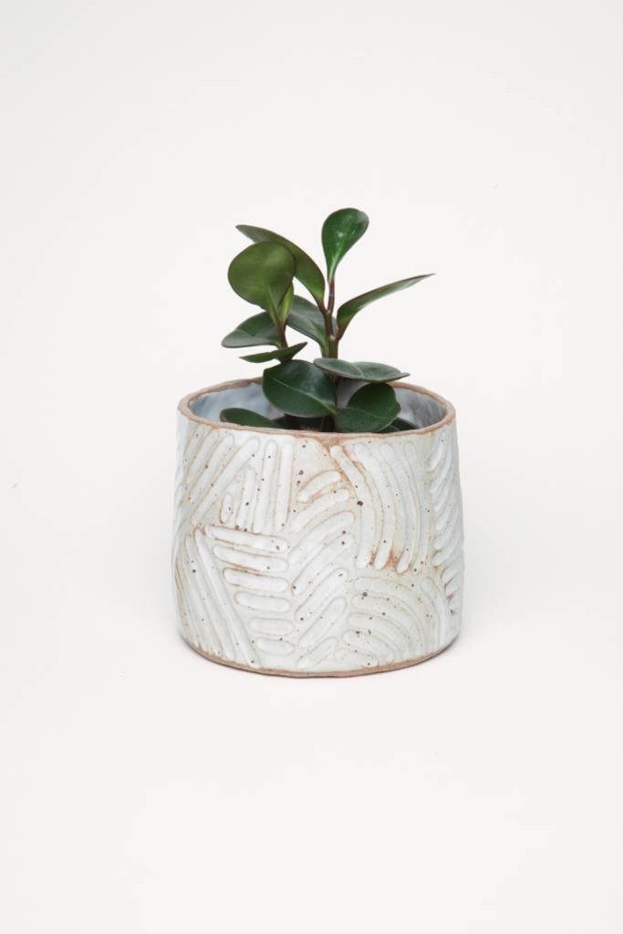 Alice Cheng Studio Curve Carved White Glazed Planter Medium