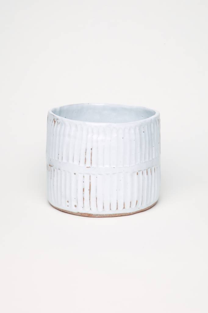 Alice Cheng Studio Skinny Rows Carved White Planter Large