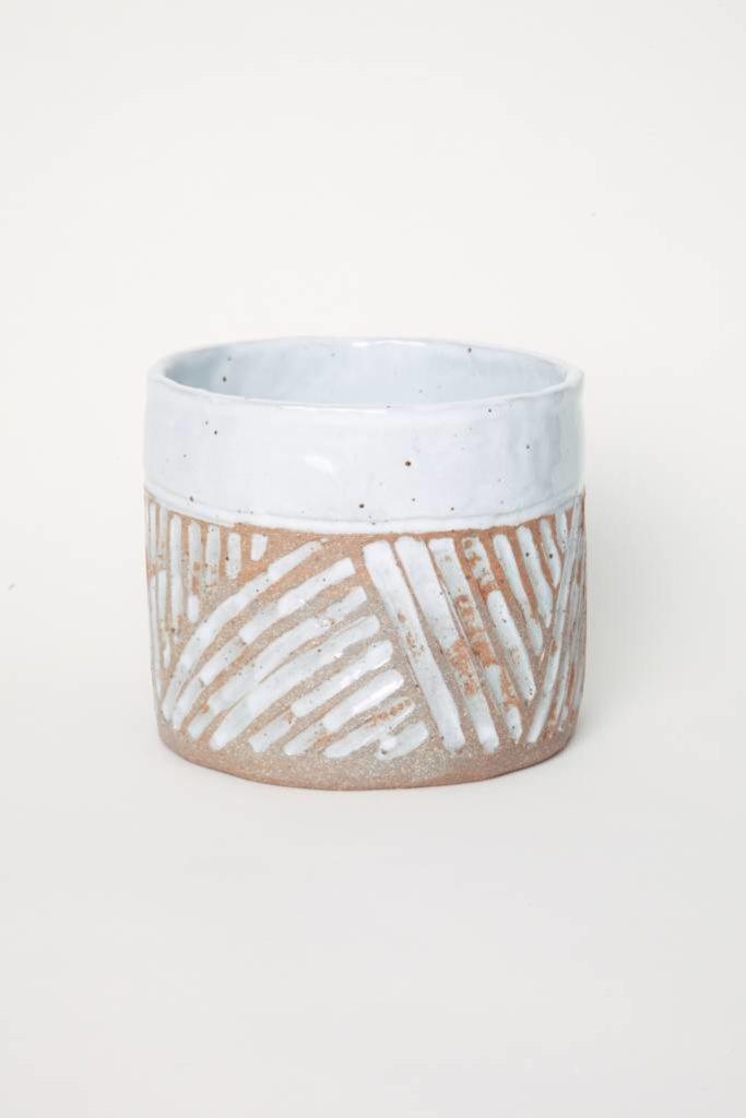 Alice Cheng Studio Carved White Glazed Band Planter Medium