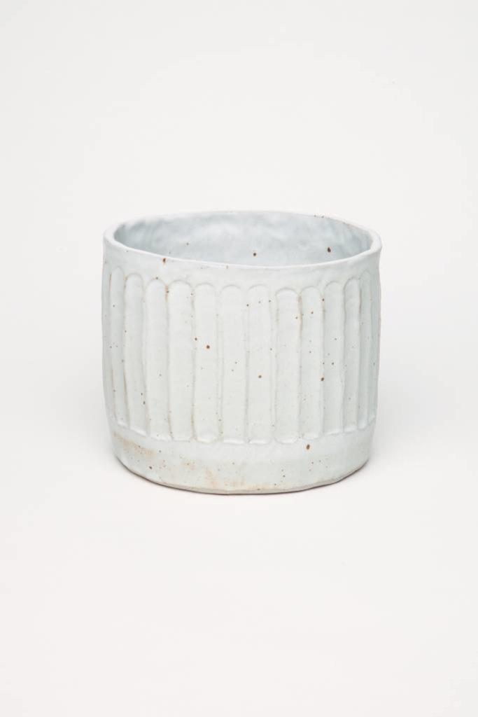Alice Cheng Studio Matte Carved White Planter Medium