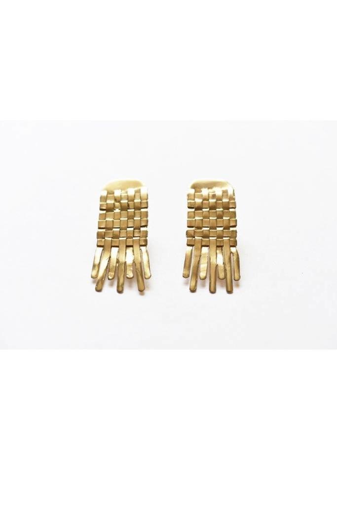 Woven Brass Earrings