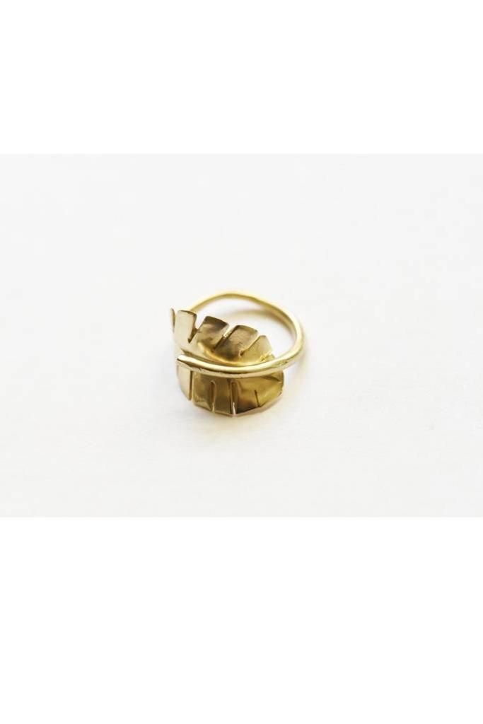 Brass Leaf Ring sz 7