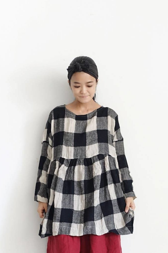 Ichi Antiquities B/W Block Check Linen Tunic Dress