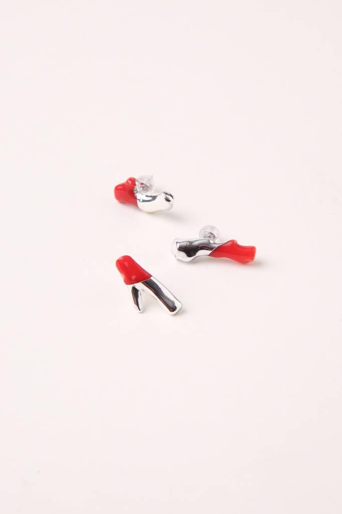 Januka Coral Single Stud - Red