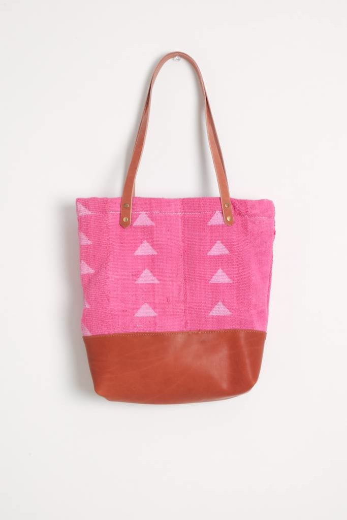 Triangle Print Pink Mud Clotjh Tote