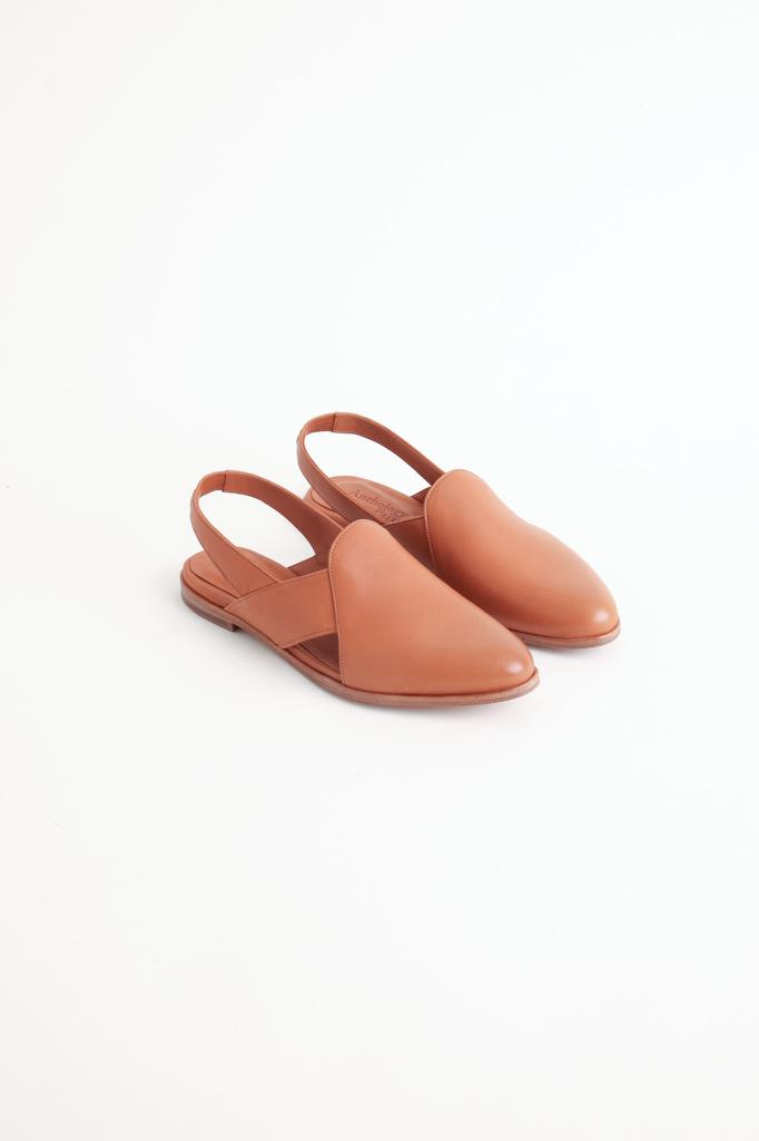 Slingback Flat camel shoes