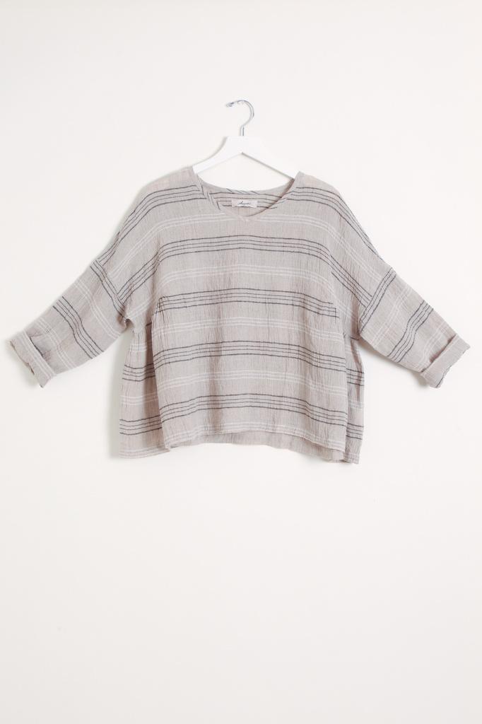 Ichi Antiquities Linen Border Pullover