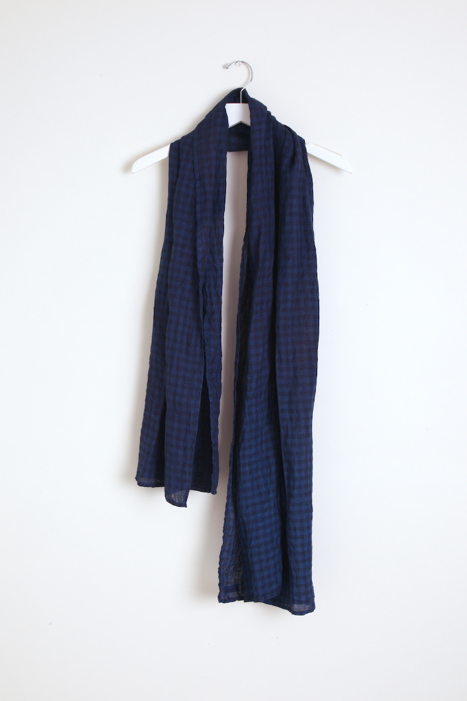 Ichi Antiquities Gingham Handdye Stole