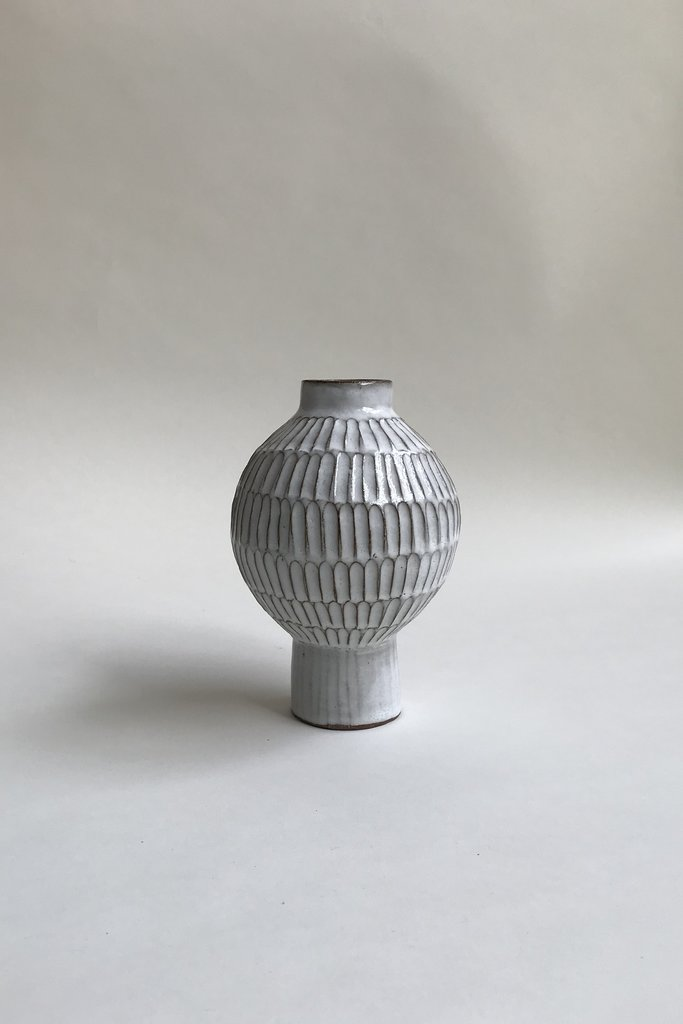 Alice Cheng Studio Small Globe Carved Vase