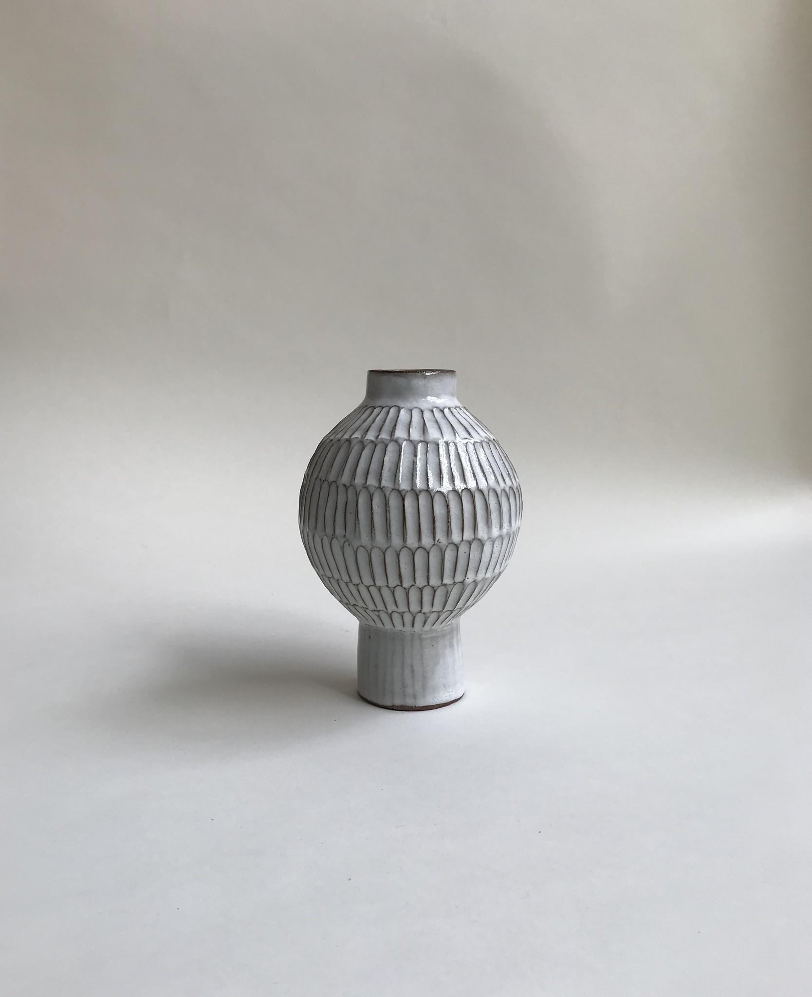 Alice Cheng Studio Small Globe Carved Vase