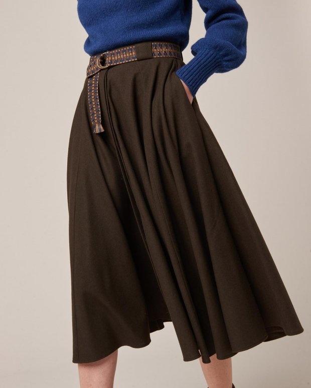 A-Line Wool Dark Brown Skirt