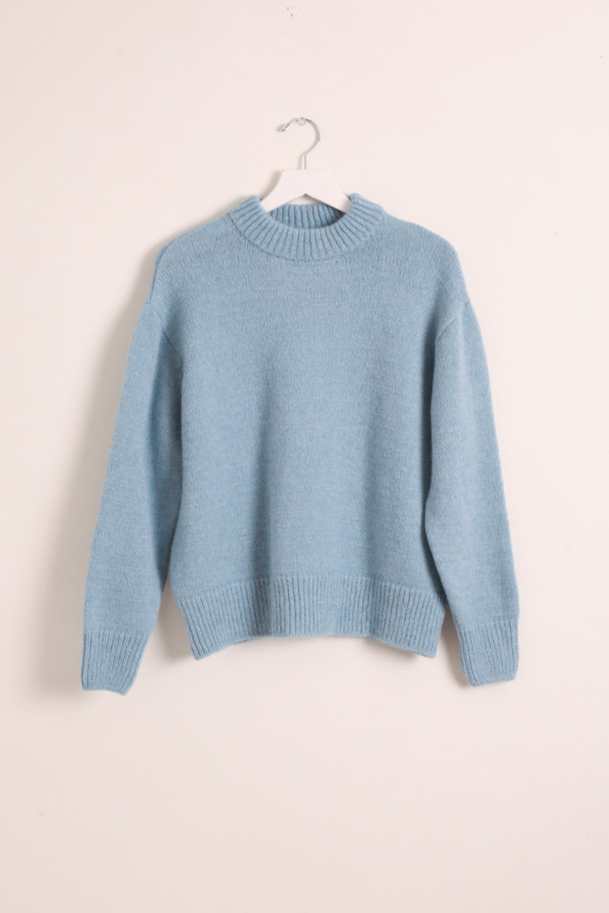 masscob Light Blue Chunky Knit Pullover Sweater