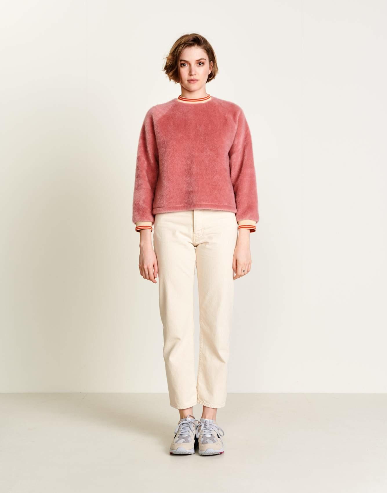 Bellerose Fluffly Pink Faux Fur Sweatshirt