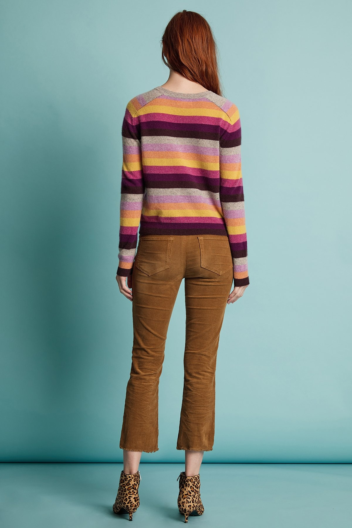 Velvet Multicolor Gold, Purple, and Gray Striped Sweater