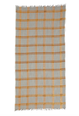 Inouitoosh Fine Wool grey & gold plaid scarf