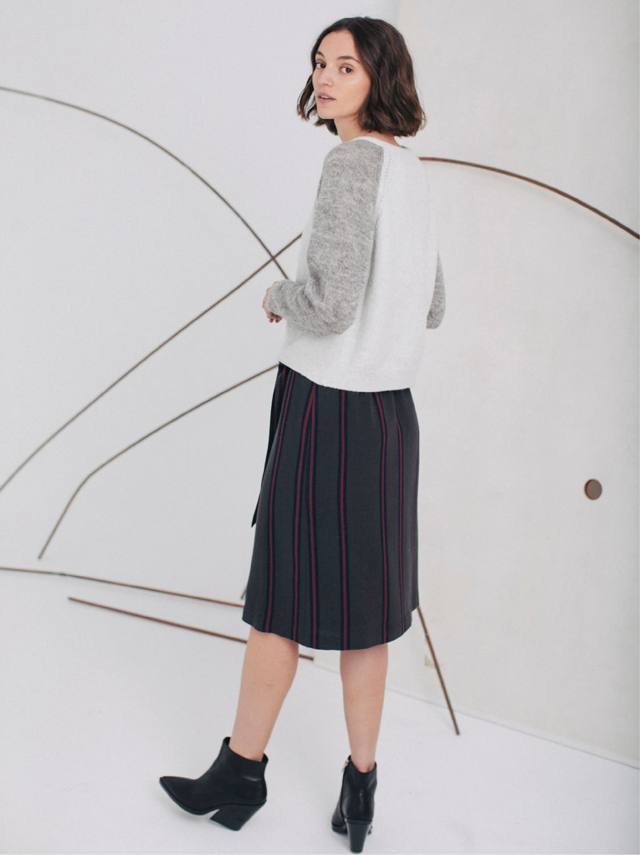 Sita Murt Grey and White Cotton Blend Colorblock Sweater