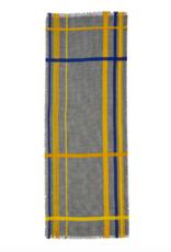 Inouitoosh Black, White, Yellow and Blue Houndstooth Check Lightweight Wool Scarf