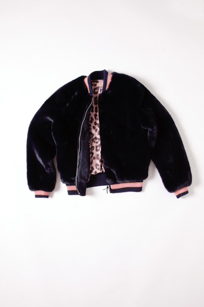Mother Dark Blue Faux Fur Jacket