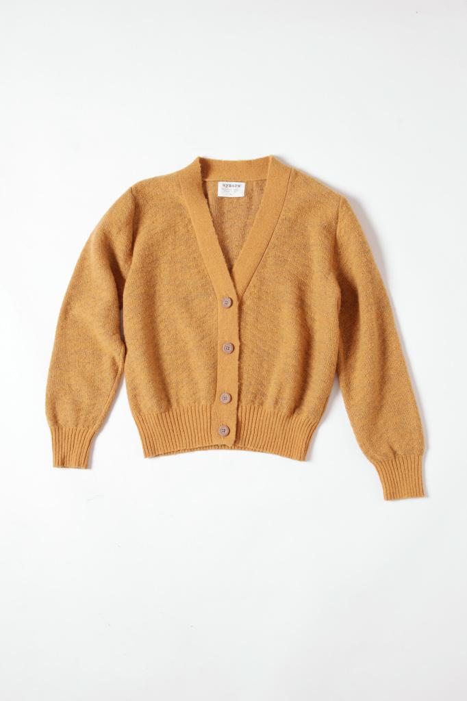 Aymara Yellow and Tan Dual Tone V Neck Cardigan