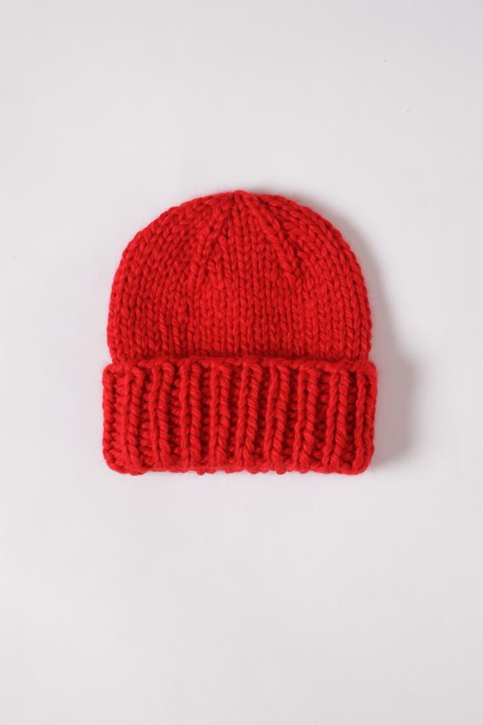 Baby Alpaca Red Cuff Beanie Hat