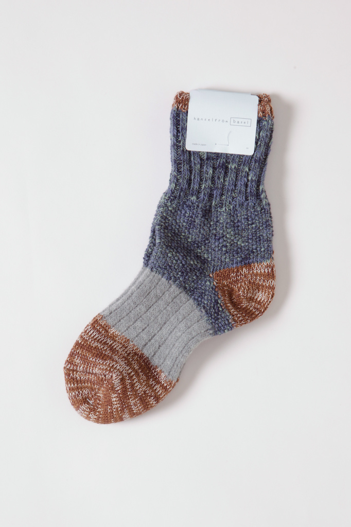 Hansel From Basel Multi patchwork greys & gold knit sock
