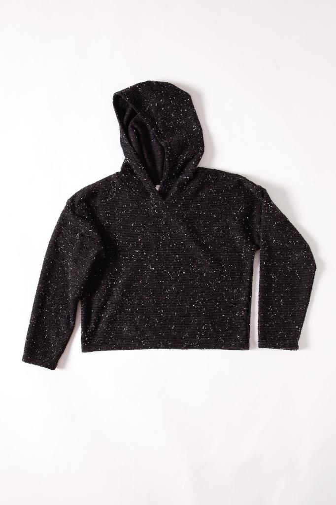 Black with Cream Flecks Knitted Hoodie
