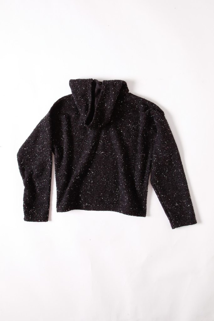 Black with Cream Flecks Cropped Knitted Hoodie