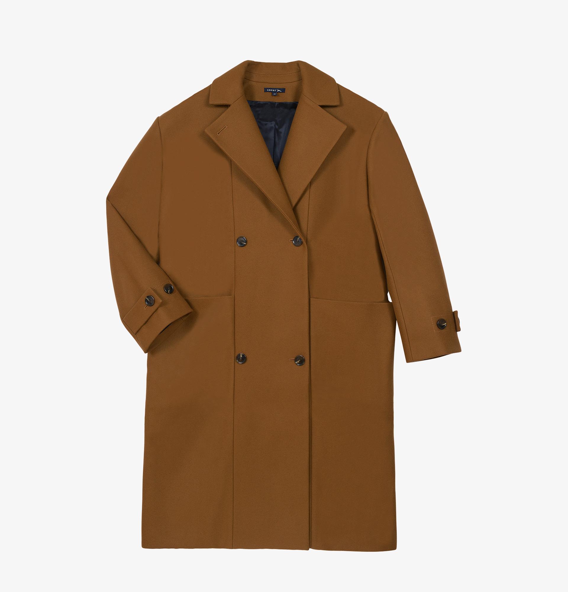 Soeur Double breasted Cognac Wool  Coat