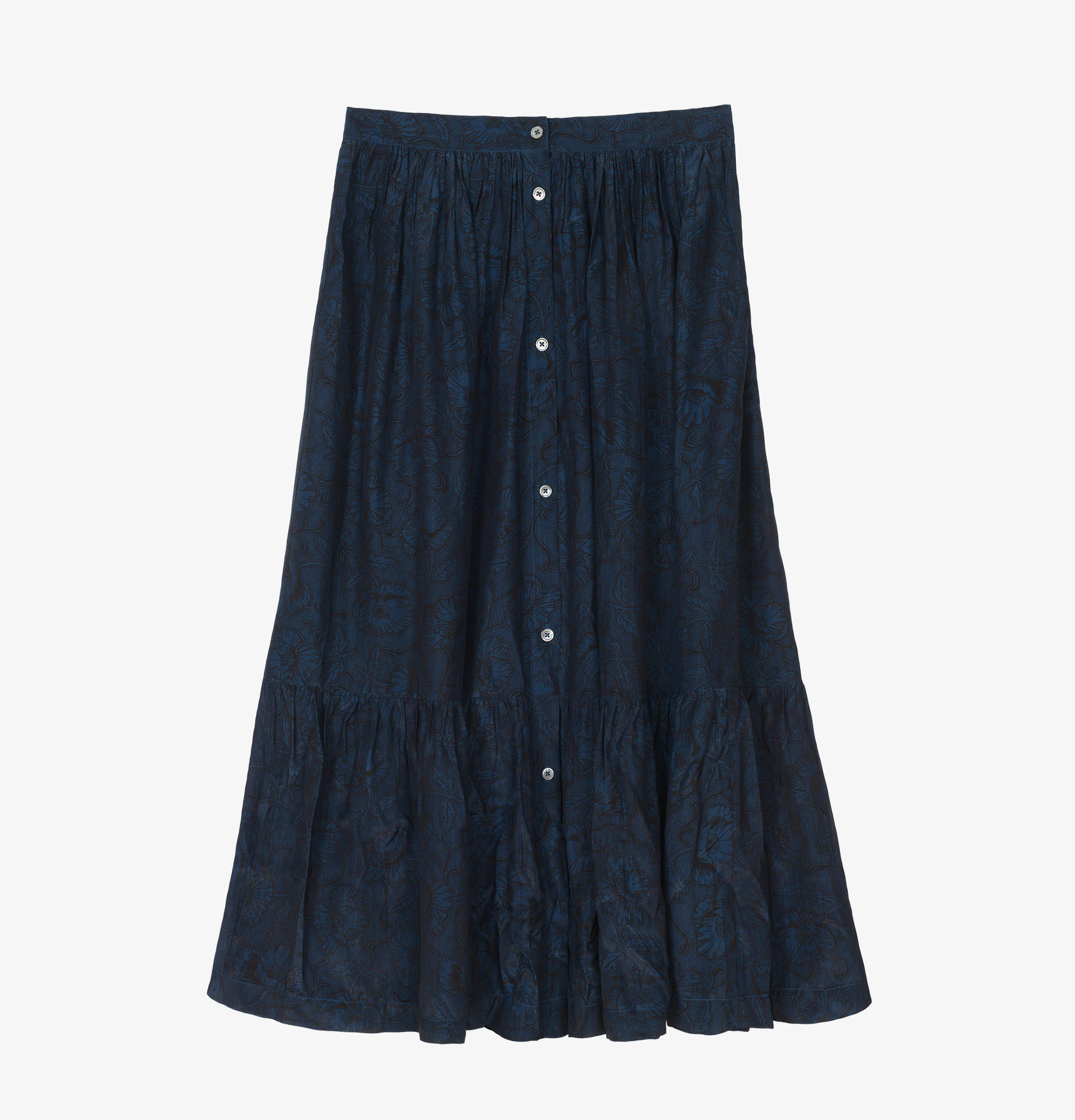 Soeur Navy Silk jacquard Skirt