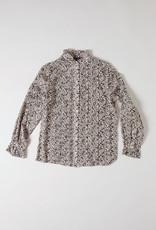 Soeur Black & beige Mini floral high neck blouse