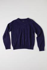 Aymara Navy Diamond Pointelle Stitch Crew sweater