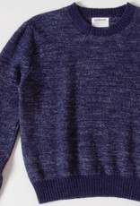 Aymara Navy Heathered Crewneck Wool Sweater