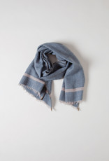 Mois Mont Blue Wool Scarf with Grey Stripe
