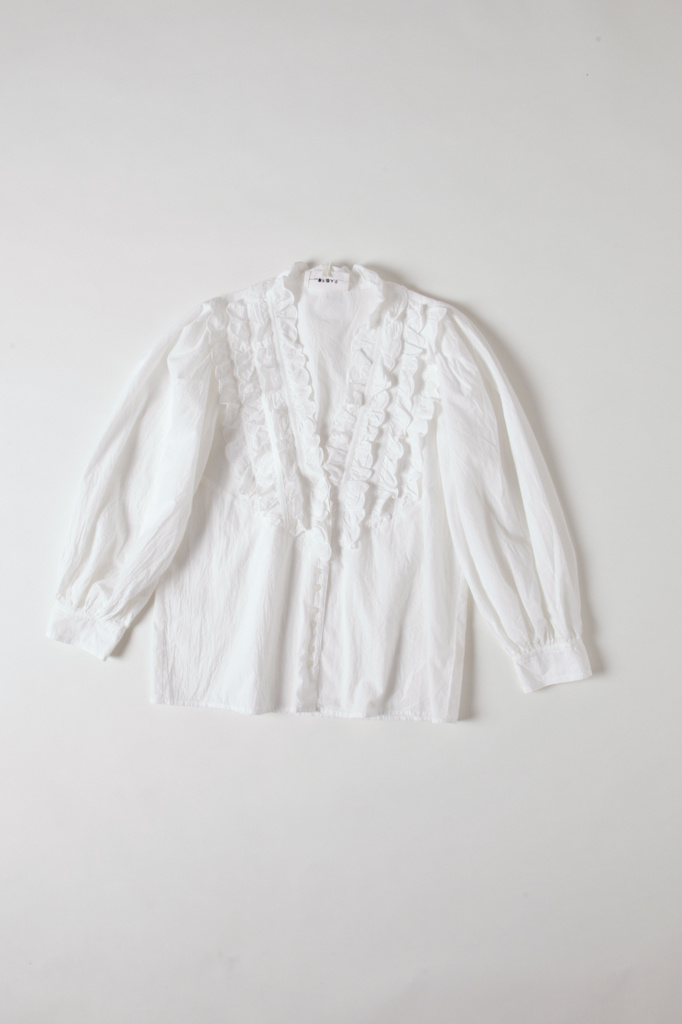 Scallop Ruffled Button Up Top