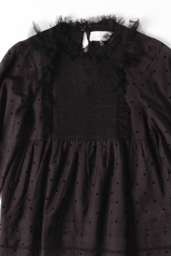 Black Tulle Ruffled Smock Top