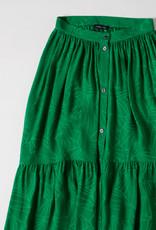 Soeur Midi Green Silk Skirt