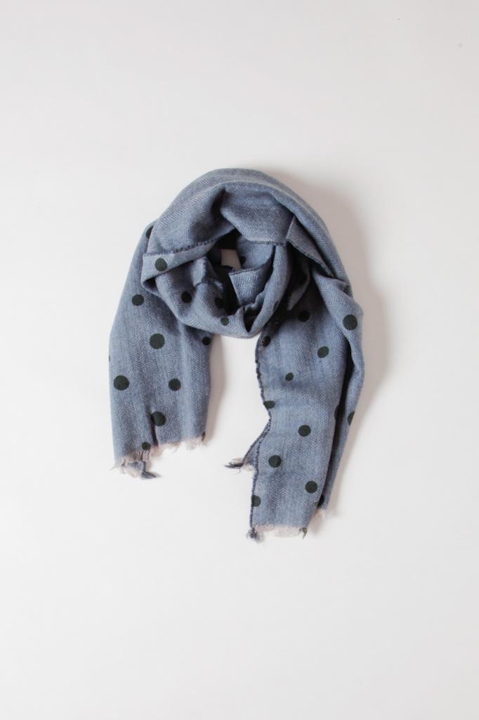 Mois Mont Blue Polka Dot Wool Scarf