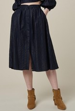Navy Cotton Blend Full Skirt with Metallic Stripe Detail