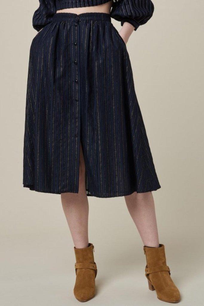 Sessun Navy Cotton Blend Full Skirt with Metallic Stripe Detail