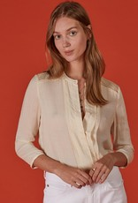 Button-Up blouse in Dobby Jacquard-Weave Crepe with Lace Yoke