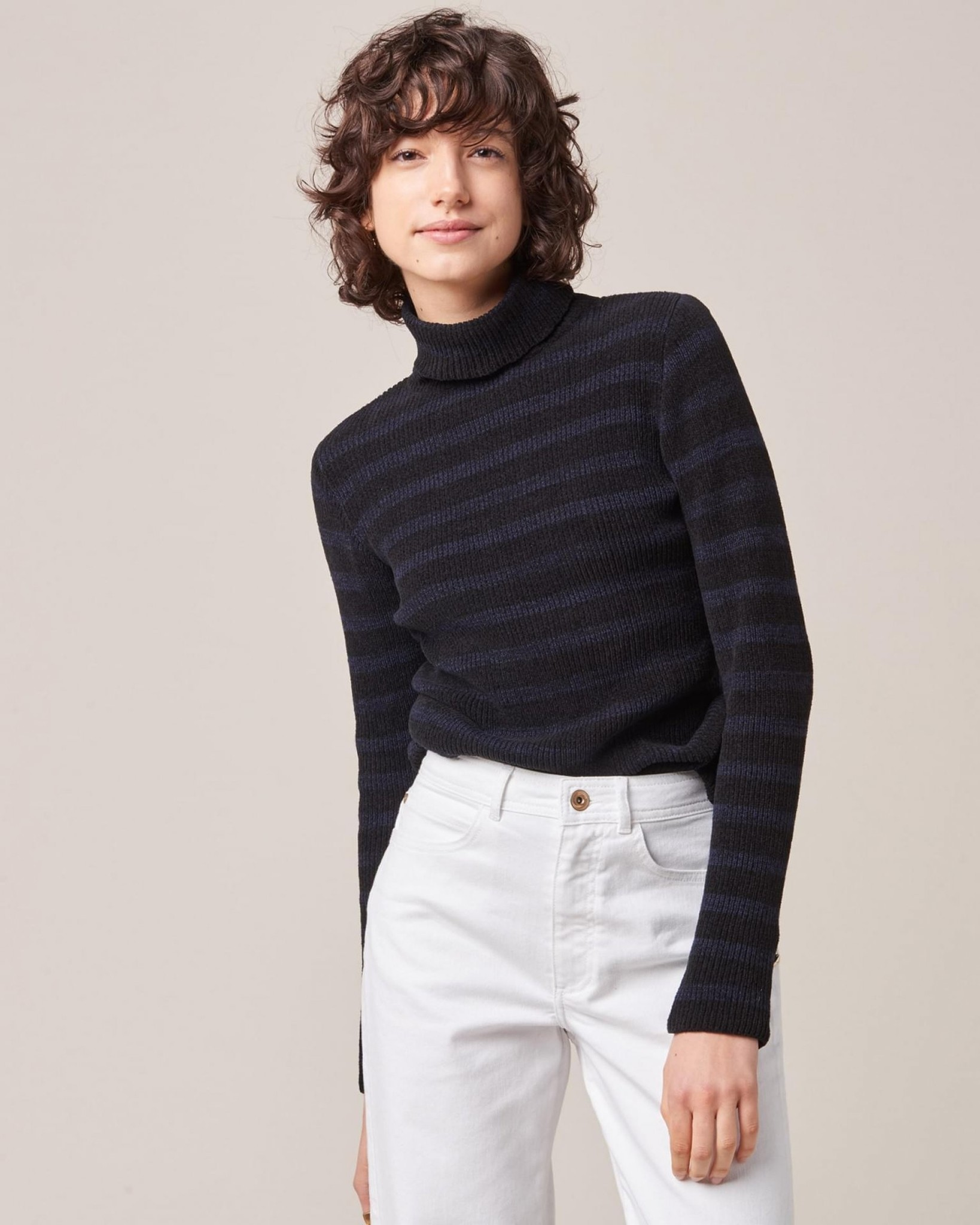 Long-Sleeve Turtleneck Sweater with Metallic Buttons in Black and Navy Stripe