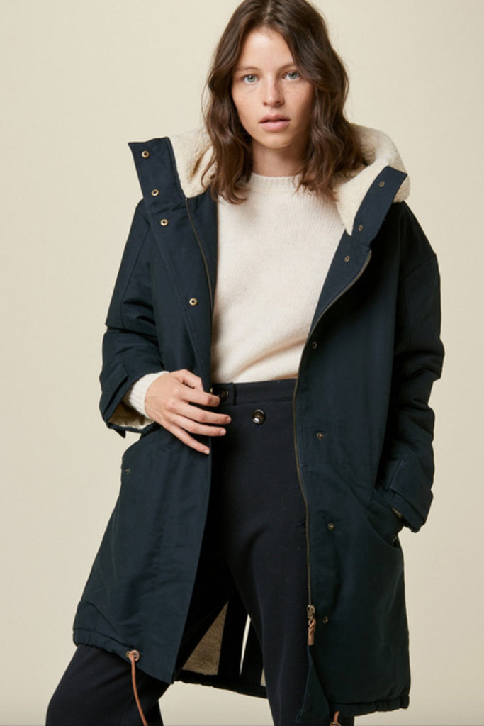 Hooded Parka with Immitation Sheep Lining