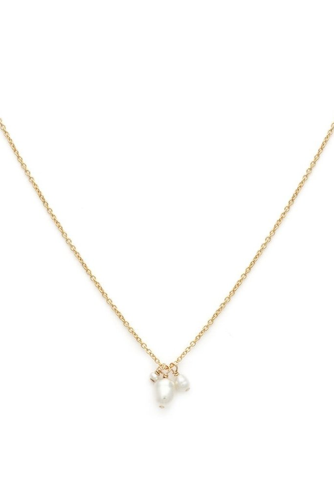 Gold Filled Necklace with Pearl Trio