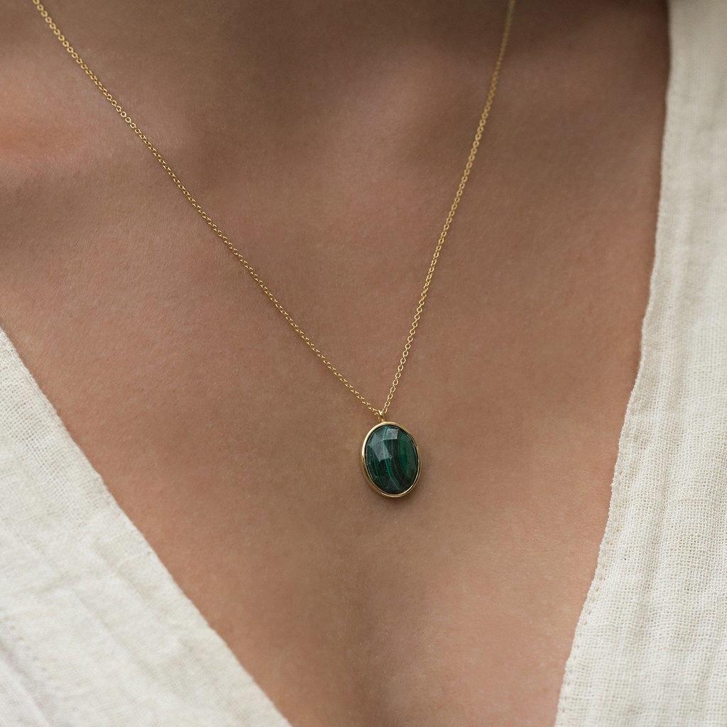 Gold Cameo Malachite Necklace