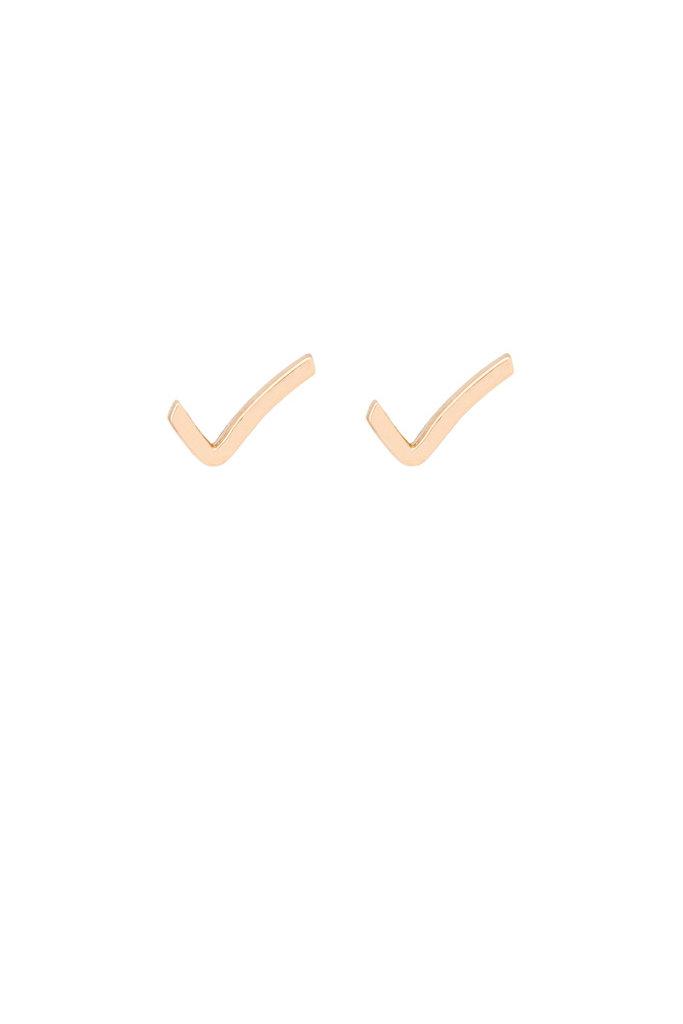 Hortense 14KT Gold Check Stud- Single