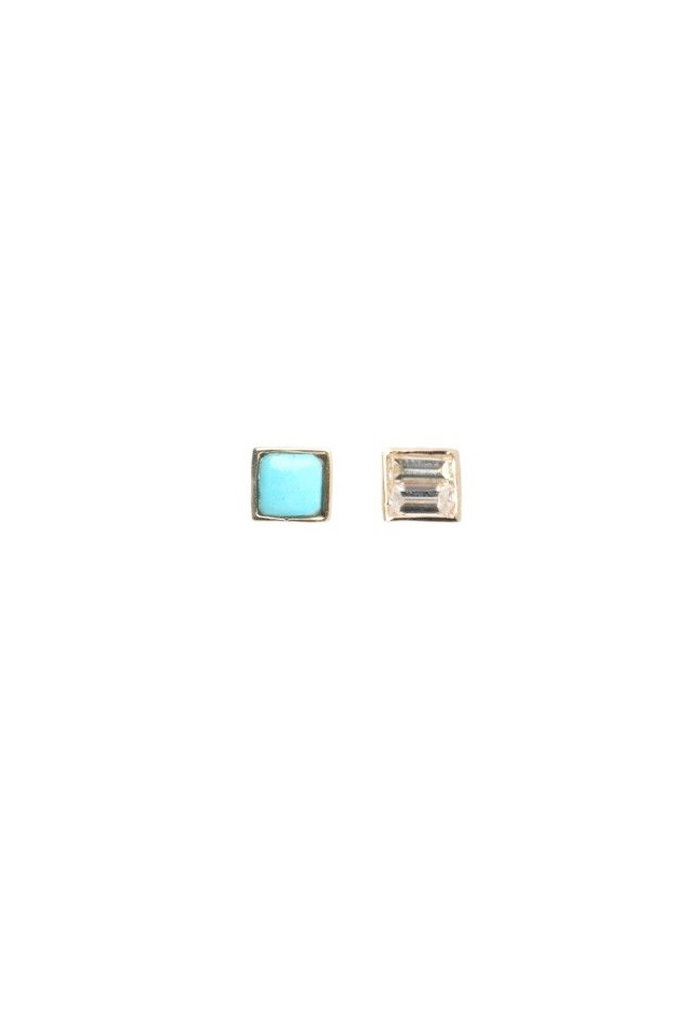 Square Turquoise Single Stud