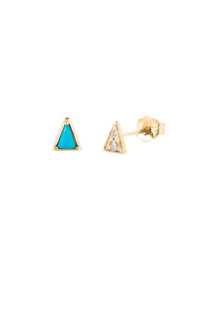 Mismatched Gold Turqoise & Diamond Studs