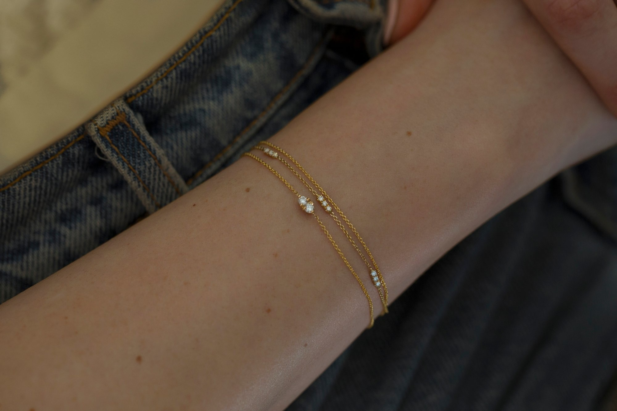 Hortense Rose Gold Two Diamond Bracelet