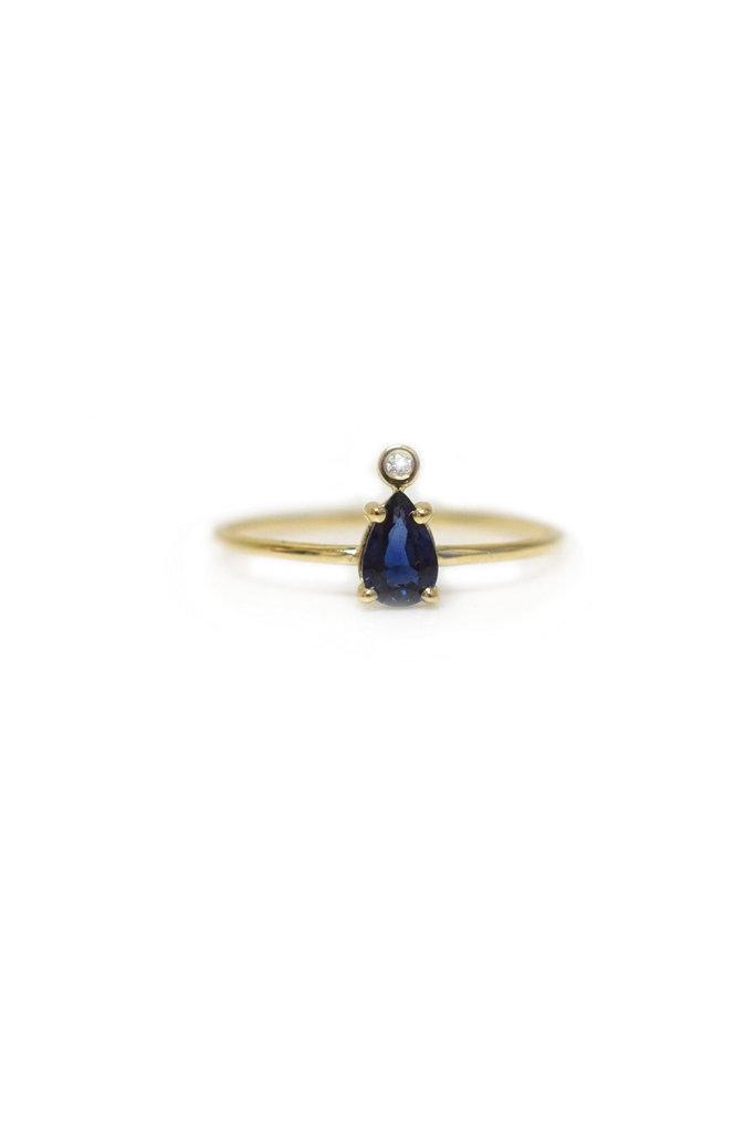 La Kaiser Blue Sapphire & Diamond Pear Gold Ring